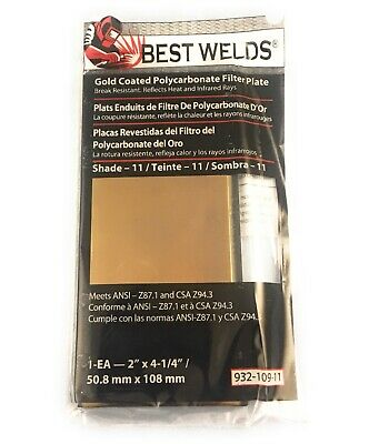 "🌟Best Weld 2x4.25"" Shade 11 Gold Coated Polycarbonate Welding Filter Plate Lens"
