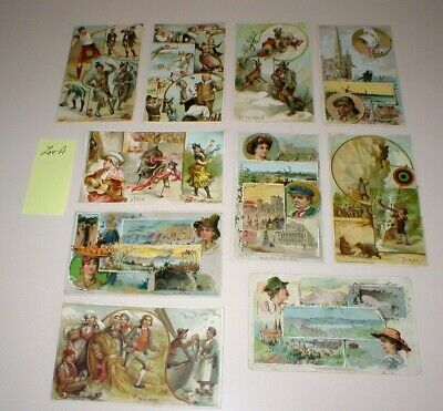 Antique 1800'S Arbuckle Trading Cards Lot A (10 Cards), International Set, Great