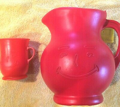Vintage Red Plastic Kool-Aid Pitcher and matching glass(cup)