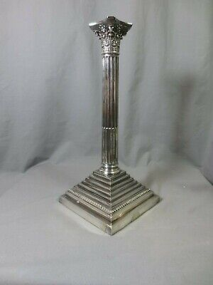 Victorian  Antique Silver Plated Corinthian Column Oil Lamp Base