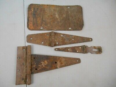 Vintage Rustic Barn Door Hinges & Rusty Kansas License Plate