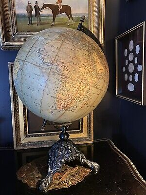 Antique Early 20th Century Philips 12 Inch Terrestrial Globe On Stand
