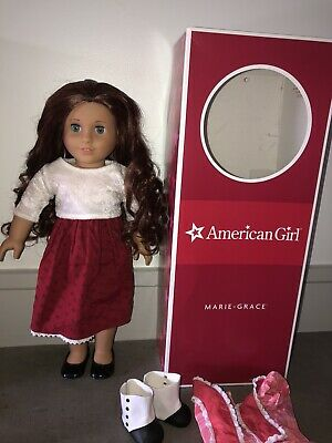 American Girl Doll Marie-Grace: CUSTOM WIG - AMAZING Condition - Shoes/Box/Dress
