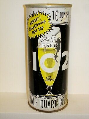 """BREW 102 """"NEWEST EASY OPENING SOFT TOP"""" Flat Top 16oz Beer Can V813"""