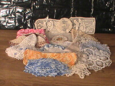 vintage lot of 22 crocheted doilies