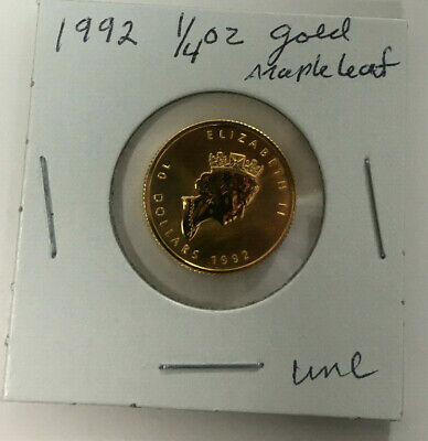 1992 CANADA 1/4 oz .9999 FINE GOLD $10 Maple Leaf in UNCIRCULATED Condition!!