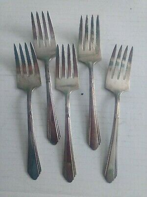 5 Antique Wilshire Silver Plate Salad/Lunch Forks R.C.Co.