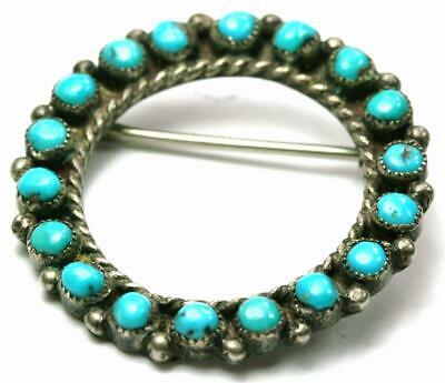 Vintage Old Pawn Navajo Native American Petit Point Turquoise Sterling Brooch