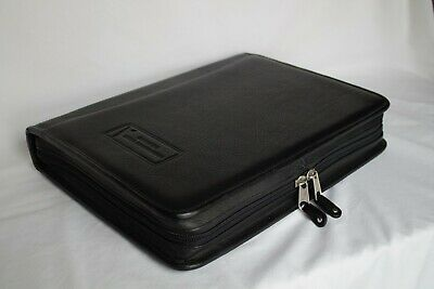 Vintage Pontiac Professional Black Faux Leather Binder Planner Portfolio 14 x11