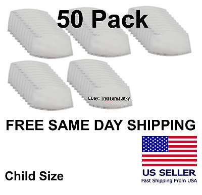 50 Pack Child PM2.5 5 Layer Carbon Face Super Fresh Air Mask Filter Replacements