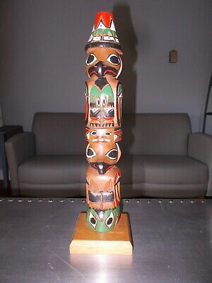 FRANK WILLIAMS Northwest Coast Wood Tlingit Legend of Creation RAVEN Totem Pole