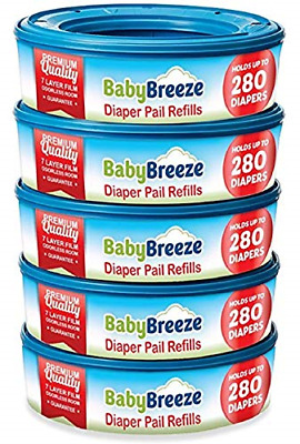 Diaper Pail Refill Bags for Playtex Diaper Genie - 1400 Count 5-Pack - By