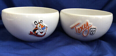 2 Kellogg Tony The Tiger Ceramic Cereal Bowls Frosted Flakes 2001 Vintage