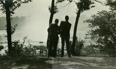 1924 Silhouette Abstract Two Men From Back Look Out at Mystic Light
