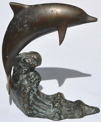 Vintage Dolphin Jumping Leaping Playing Waves Bronze Sculpture Statue Porpoise