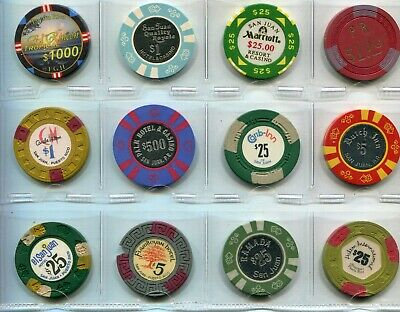 12 Different Gambling Chips From Puerto Rico