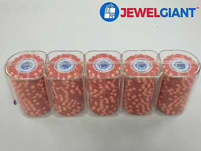 LOT OF 100 MGM LIGHTHOUSE RED POKER CHIPS IN BOX *NEVER USED #bj980