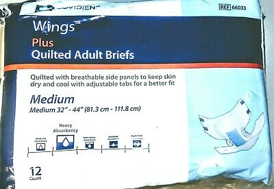 NEW Adult Covidien Wings Plus Quilted Adult Briefs Medium Adult Diapers-12 Pack