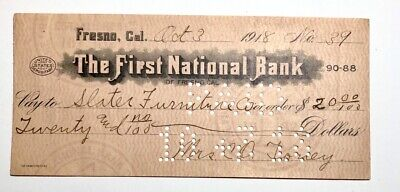 1918 - The First National Bank Check-Cancelled - Fresno, California