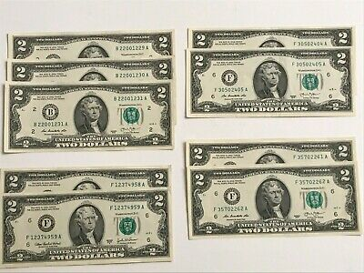 Lot of 9-  2-2003 & 7-2013 Two Dollar Bills $2.00 AU