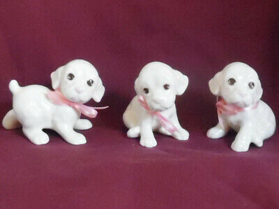 Vintage 3 Porcelain Possibly Lab Puppies White with Pink Accents and Pink Bows
