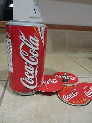 Collectible Coca Cola Coaster Dispenser w coasters in Coke Can