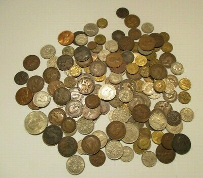 Huge Lot of 148 British Pre-Decimal Coins- Farthings to Crowns-2.5 Pounds!