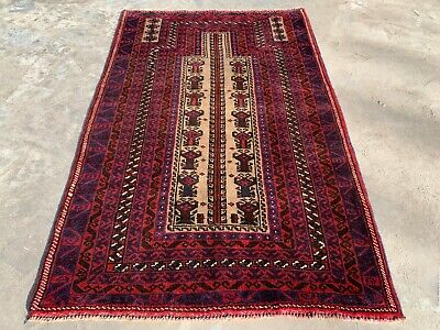 Authentic Hand Knotted Afghan Balouch Wool Area Rug 5 x 3 Ft (167 HM)