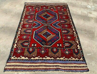 Authentic Hand Knotted Afghan Balouch Wool Area Rug 5 x 3 Ft (169 HM)