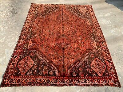 Distressed Antique Hand Knotted Pictorial Shrz Wool Area Rug 8 x 5 Ft  (931 HM)