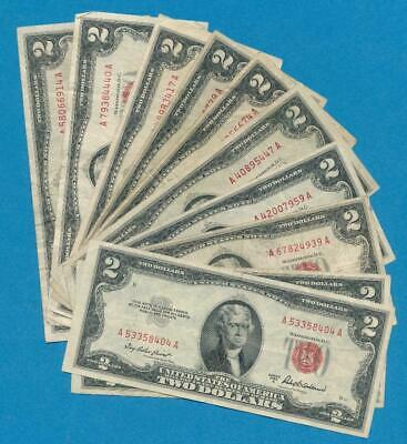 10-$2.00 1953 Mixed Series Red Seal United States Notes  Circulated