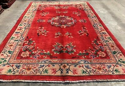 Authentic Hand Knotted Vintage Khotan Sino Wool Area Rug 9 x 7  FT (955 HM)