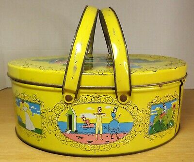Vintage 1950's Cookie Biscuit Sewing Tin with handles 1890s look vibrant colors