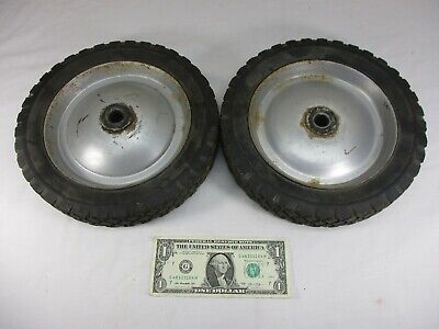 "Set of Vintage Rubber Cart Wagon Dolly Wheels Metal Rims 9.75"" x 1.75"""