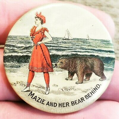 Rare Early 1900S Mazie And Her Bear (Bare) Behind Risque Humorous Pocket Mirror