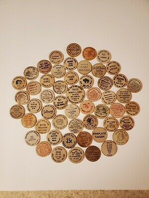 Lot of 50 Plus Wooden Nickels, Dollars, Etc. All Different