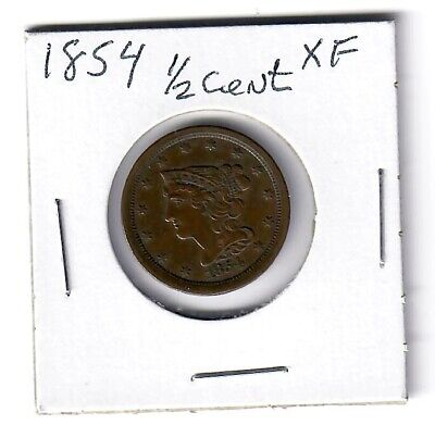 US 1854  Braided Hair HALF CENT  1/2¢  PIECE  (XF)