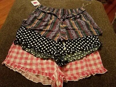 NEW LOT OF 3 Women's Size XL sleep leisure shorts polka dots