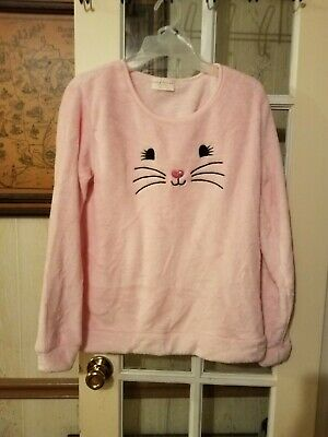 NEW Womens M 2pc Shorts and ls top  Bobbie Brooks pink fuzzy cat kitty