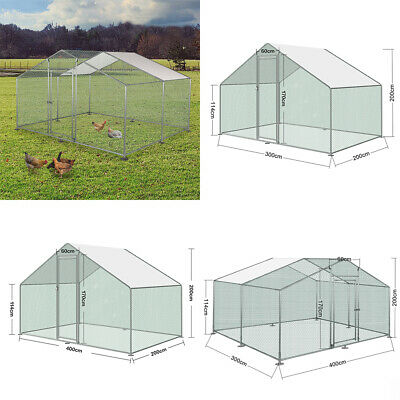 Chicken Run Walk Cage Poultry Pet Coop for Dog Rabbit Hen House Pen Metal Door