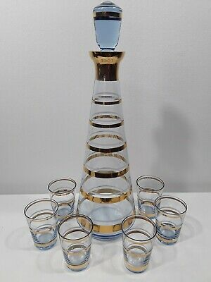 Mid Century Glass Decanter Bar Set with 6 Glasses Bohemia Gold and Amber NICE