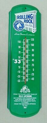 large tin lithographed thermometer sign advertising Rolling Rock Beer