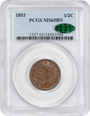 1853 1/2c PCGS/CAC MS65 BN - Braided Hair Half Cents (1840-1857)