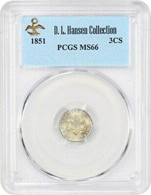 1851 3cS PCGS MS66 ex: D.L. Hansen - Gem Type Coin - 3-Cent Silver