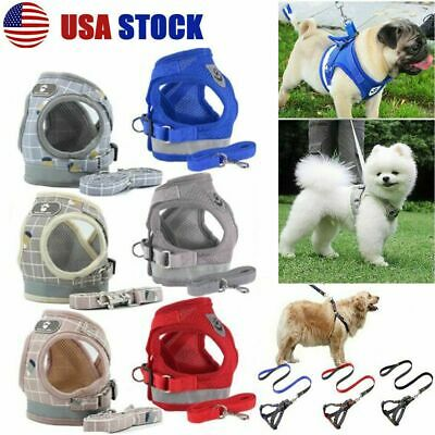 XS-XL Small Dog Pet Puppy Harness And Leash Set Breathable Mesh Vest Chest Strap