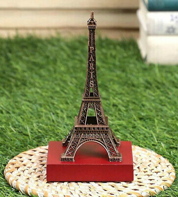 Metal Eiffel Tower Wood Base Paris Figurine Sculpture Table Decorative Showpiece