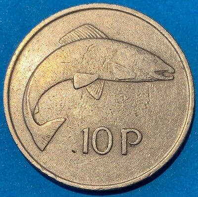 1975 Republic of Ireland Eire 10 Pence 10p Salmon Coin