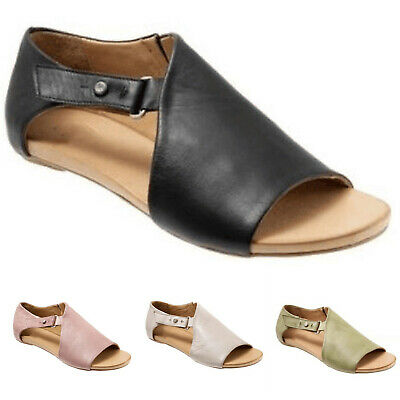 Womens Ladies Peep Toe Buckle Flat Sandals Summer Holiday Boots Shoes Size:36-43