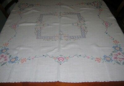Vintage Hand Embroidered Tablecloth ~ Linen ~ Square