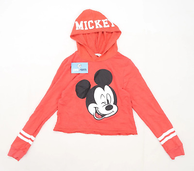 H&M Girls Graphic Red Mickey Mouse Hoodie Age 13-14
